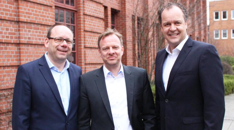 Im Bild die Geschäftsführung von ppi Media: Jan Kasten, Dr. Hauke Berndt, Markus Feldenkirchen