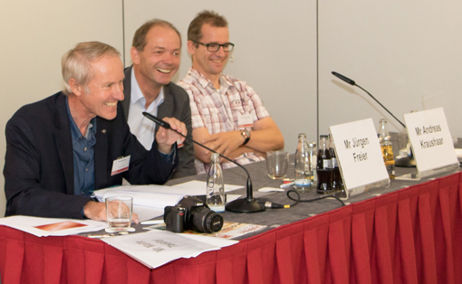 The conference was moderated by ERA Secretary General James Siever, seen here (left to right) with Juergen Freier of HP and Dr Andreas Kraushaar of Fogra.